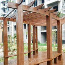 防腐木廊架弧形转角葡萄架景区木质花架景观工程厂家