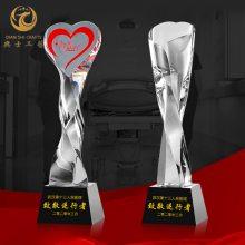 巾帼志愿者表彰奖杯,公益爱心活动奖品,无锡水晶奖杯批发