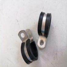 金湾区316不锈钢带胶喉箍 27mm非标定制 出口包胶波纹管管夹质量