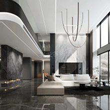 融创玫瑰园别墅装修案例,重庆现代风格独栋豪宅室内设计效果图