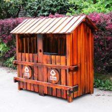 木质垃圾房施工防腐木垃圾站定做公园景区双桶单桶大垃圾箱***