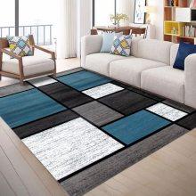 水晶绒印花地毯定制 卧室床边北欧现代轻奢地毯大尺寸定制