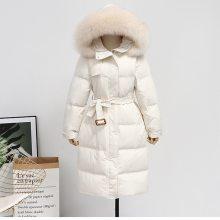 微商服装货源批发 韩版中长款女装羽绒服白鹅绒简约棉服库存一件代发