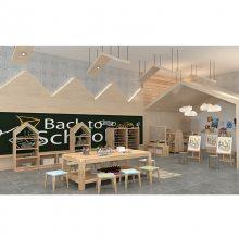 幼儿园家具实木美术桌游戏桌儿童学习桌椅-绿森堡厂家定做
