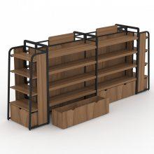 便利店超市货架展示架双面中岛柜饰品店母婴店钢木展架