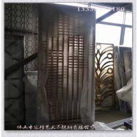 中式不锈钢屏风沐足会所室内简易镂空装饰花格拉丝面黑色焊接隔断