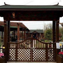 庭院拱门别墅仿古景观门头庄园景区木结构门楼施工防腐木景观工程