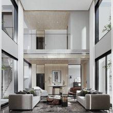 金科九曲河双拼别墅装修在建工地,渝北九曲河现代风格别墅设计效果图