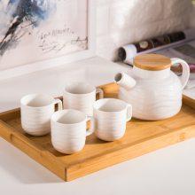 日式白色创意波浪纹功夫茶具套装 泡花茶陶瓷茶壶茶杯 一壶四杯带托盘