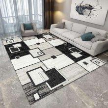 水晶绒印花地毯定制 几何地毯印花地毯卧室床边北欧地毯