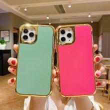 外贸适用新款苹果12手机壳iPhone11Pro max电镀边框实色TPU保护套厂家