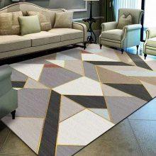 水晶绒印花地毯定制 水晶绒北欧客厅地毯批发