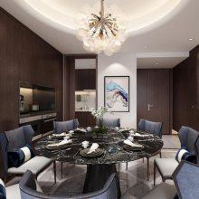 棕榈泉悦江国际二期装修在建工地,悦江国际新中式风格设计效果图