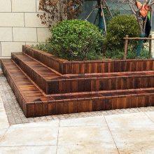 防腐木凳面铺设木质坐凳定做公园景区景观凳子南京防腐木厂家