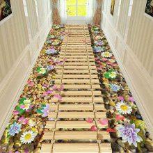 彩印地毯惊险走廊过道水晶绒宾馆走廊客厅地毯可订制