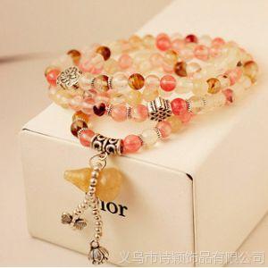 供应招财转运 韩版时尚饰品 潮 女士 天然石彩色葫芦串珠复古手链饰品