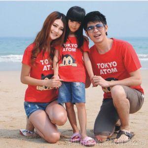 供应夏季一家三口装家庭装母女装父子装 阿童木 亲子装情侣t恤
