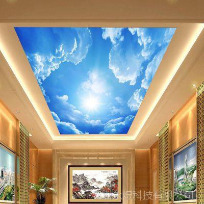 大型3d壁画蓝天白云 天花板壁纸 吊顶墙画 客厅背景墙画厂家定制
