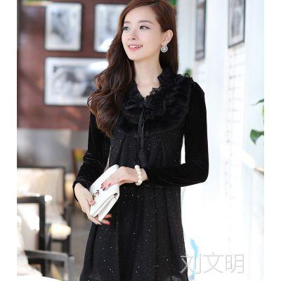 实拍 2014秋冬新款韩版兔毛领长袖修身连衣裙加大码批发
