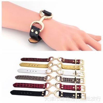 新韩版手饰品 韩国时尚pu皮革手链 个性皮带扣手镯 出口 外贸首饰