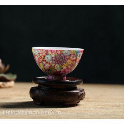景德镇传统手工艺陶瓷器 手绘描金粉彩万花功夫茶杯 珐琅彩品茗杯