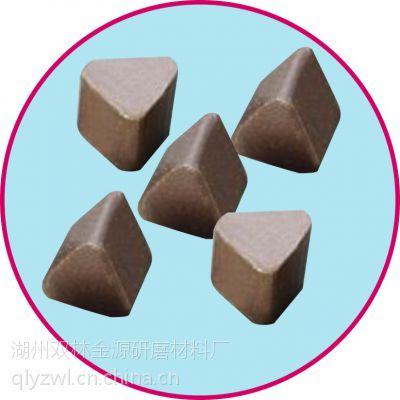 咖啡色高铝瓷三角研磨石,厂家供应氧化铝抛光磨块石,抛光磨料批发销售