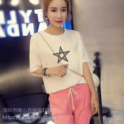 2019新款夏季韩版女装短袖百搭圆领T恤印花打底衫修身显秀短袖上衣女式T恤