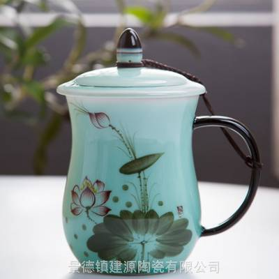 影青釉青瓷杯 陶瓷茶杯特大号 含盖个人杯泡茶杯定制