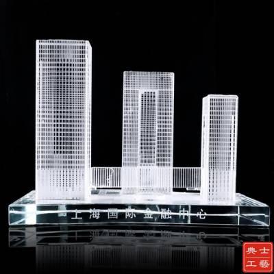 金融中心落成启用礼品、交付仪式纪念品设计定做、张家口水晶模型纪念摆件厂家
