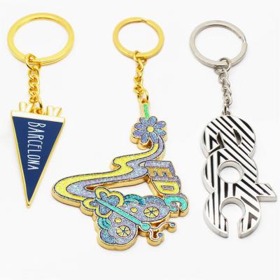 厂家制作烤漆闪粉钥匙扣 定制logo钥匙挂件 锌合金卡通金属钥匙扣