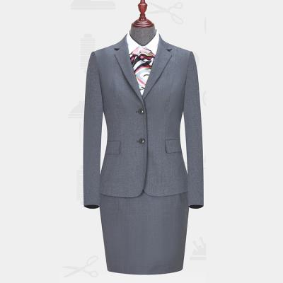 定做贵州职业装修身女西服商务西装订制LNY-1021定做灰色仿毛平驳领单排两粒扣女西服
