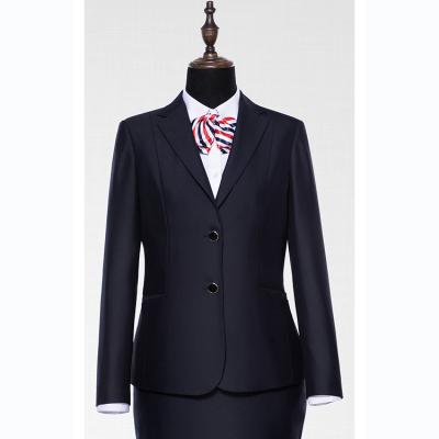 贵州管理服订做 贵阳西装职业装定制 高端女西服定制 GY31295装藏青色30%羊毛毛涤面料西装