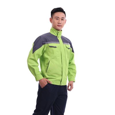 贵州工程服定做工作服批发INYT-1811605果绿色涤棉混纺面料反光条立领单层现货夹克型普通工装
