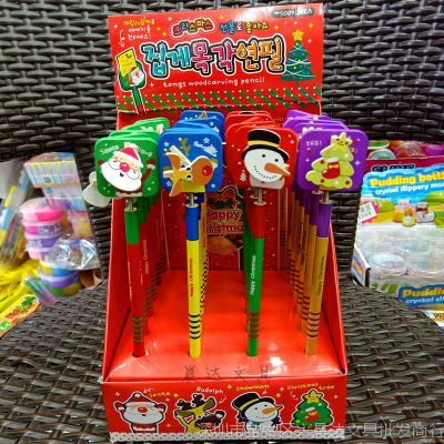 韩版创意儿童卡通圣诞老人木制铅笔学生可爱圣诞树雪人文具礼物批