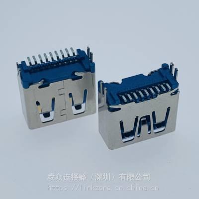 USB AF3.0 180度立贴母座/90度折弯SMT/立式贴片/鱼叉脚/H=11.6mm