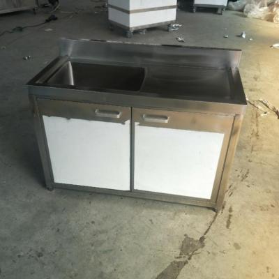 工程定制不锈钢厨具 不锈钢特厚带酒店水槽 曲阳县水池柜平台