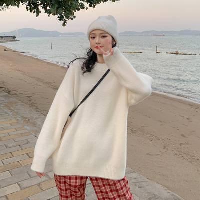 超心动好质量毛衣 550克全羊绒+花式纱绞花工艺女宽松圆领针织衫