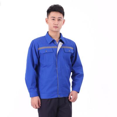 贵州工程服定做纯棉工程服订制JINYT-0535402宝蓝色纯棉面料反光条单层春秋普通工装套装