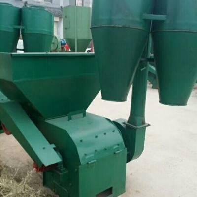 新型粉碎机 双沙克龙饲料粉碎机 花生秧牧草自动进料粉碎机