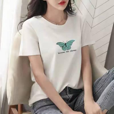 贵州黔南5元服装批发新款韩版学生圆领半袖外贸女装印花短袖T恤服装厂家直接拿货电话