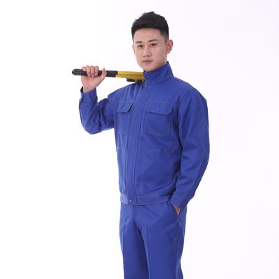 贵州工作服定做贵阳耐酸碱工程服JINYT-9701402宝蓝色涤棉耐酸碱双明线立领工程服单层套装