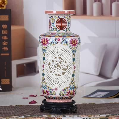 景德镇陶瓷器花瓶摆件 客厅插花镂空小清新青花粉彩花瓶