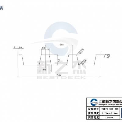 2.0厚YX75-200-600开口楼板发往深圳工地