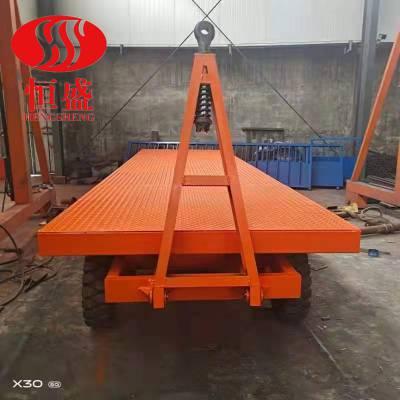 恒盛平板车牵引护栏平板拖车PBC厂区车间仓库物料转运车重型工具车
