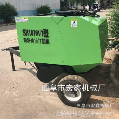 新疆全自動打捆包膜機 自動切麻繩打捆機 秸稈粉碎圓捆機