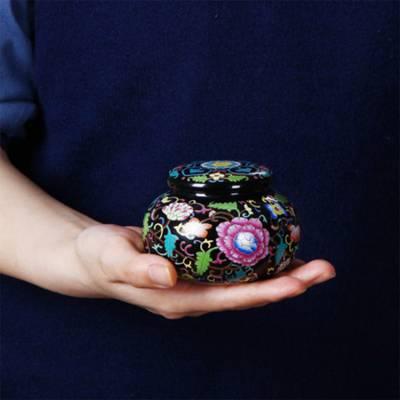 珐琅彩茶叶罐 陶瓷密封罐 包装盒定制新品红绿茶存茶罐