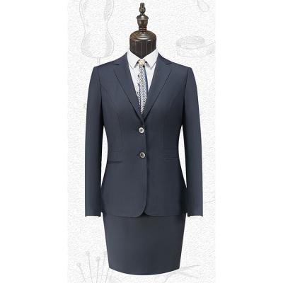 贵州女西装量体定做西服个性定制职业装批发QNY5052藏青色50%羊毛平驳头两粒扣女西服
