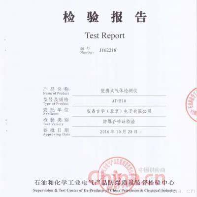 便携式气体检测仪检验报告