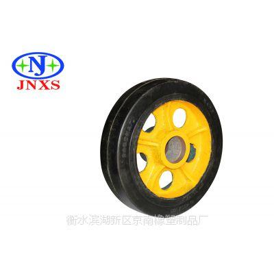 脚轮厂家直销 京南橡塑 12寸重型A1平板圆孔橡胶单轮