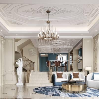 重庆法式轻奢风格别墅设计效果图,约克郡别墅装修,翠尾堤联排设计方案